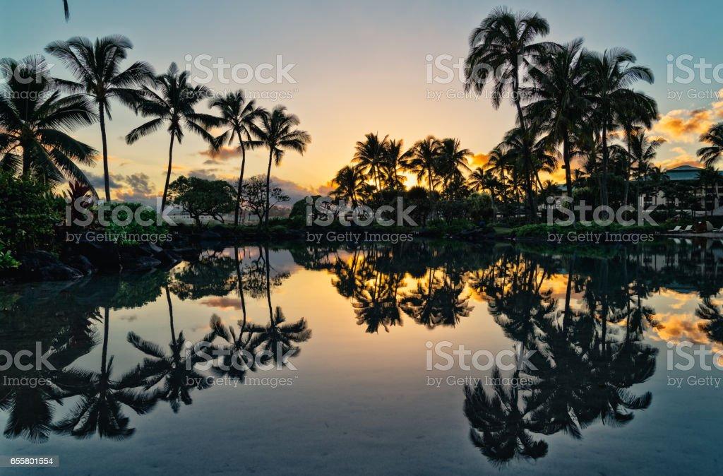 Sunrise in Hawaii stock photo