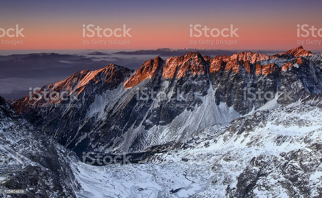 Sunrise in High Tatras,  Slovak mountain stock photo