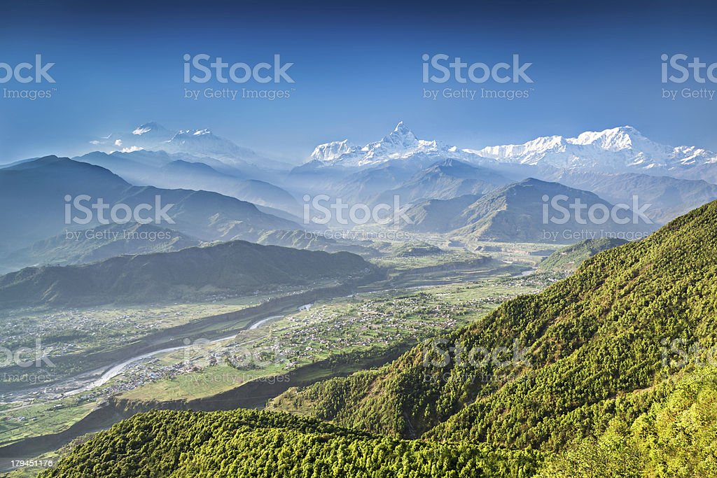 Sunrise in Himalaya mountains stock photo