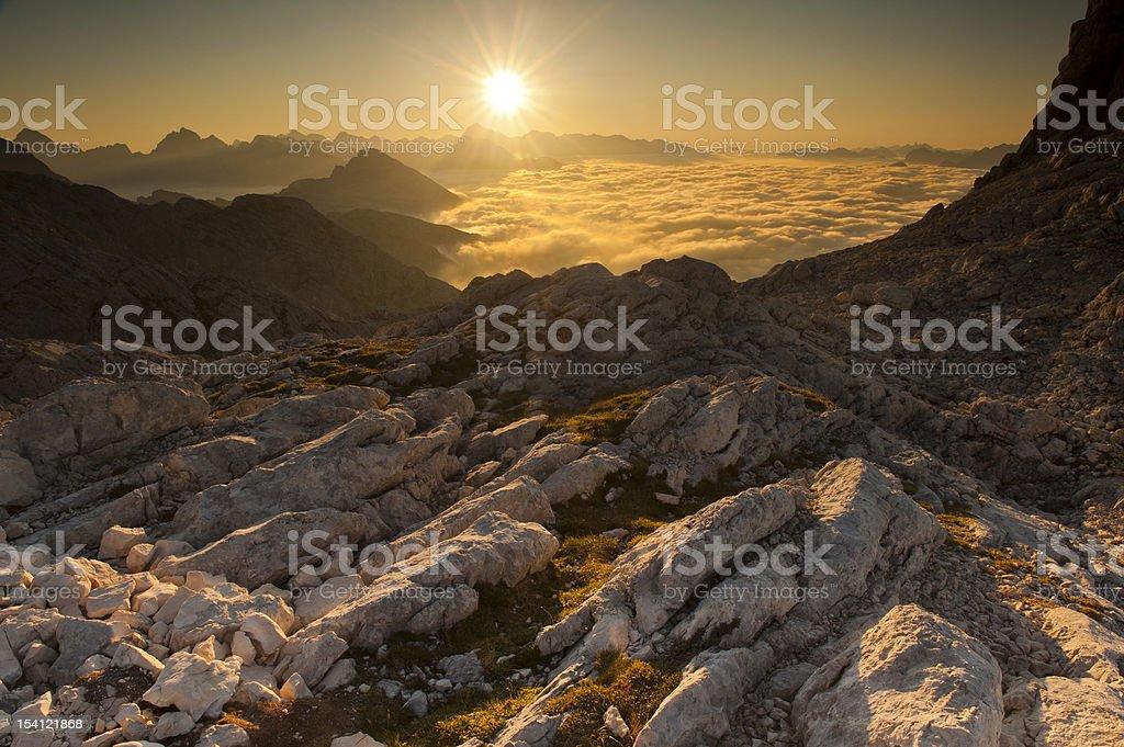 Sunrise in Julian Alps royalty-free stock photo