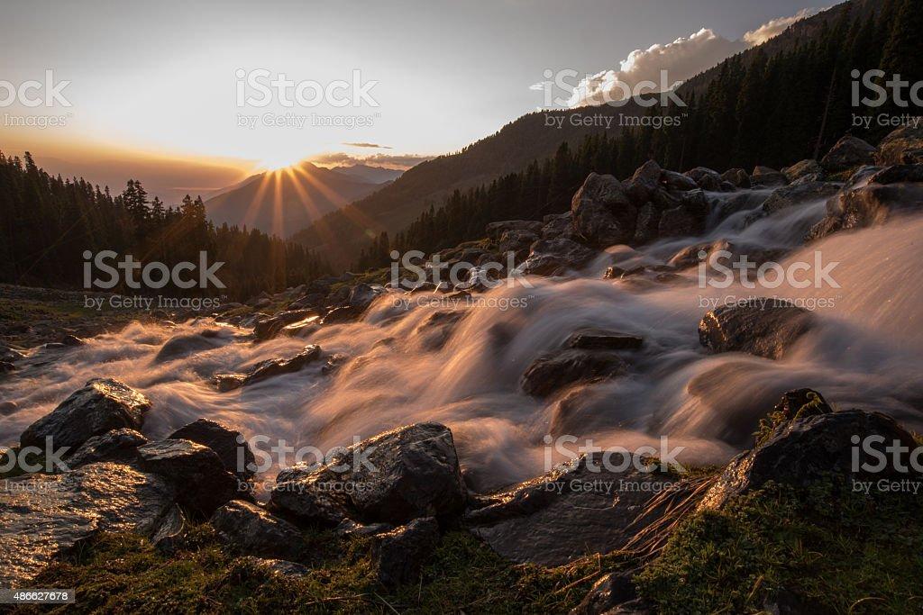 Sunrise in Kashmir stock photo