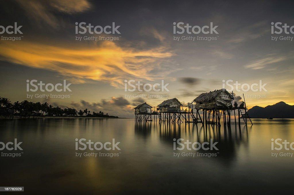 Sunrise in Maiga Island, Sabah stock photo