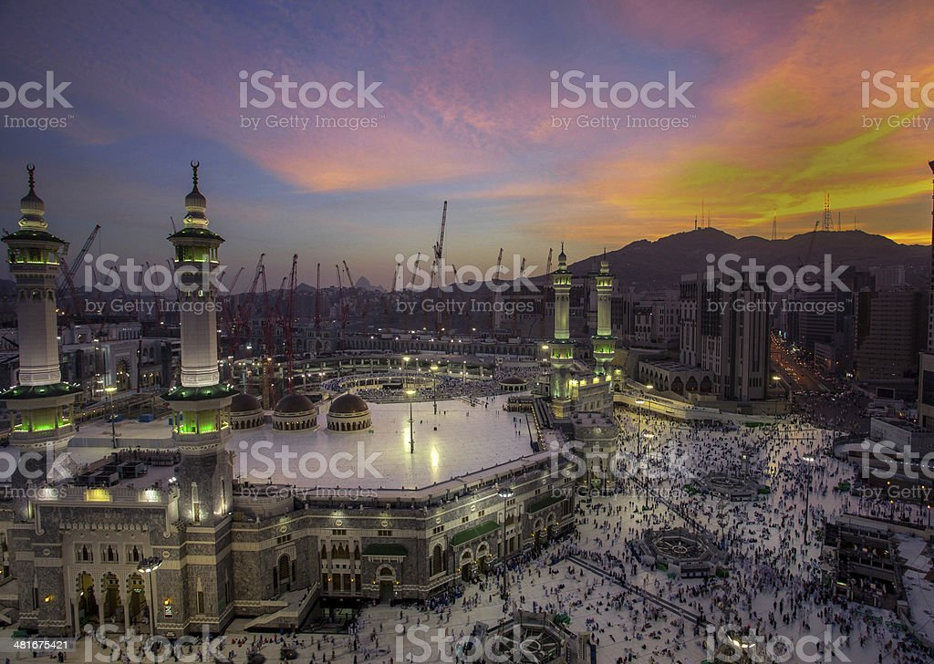sunrise in makkah stock photo