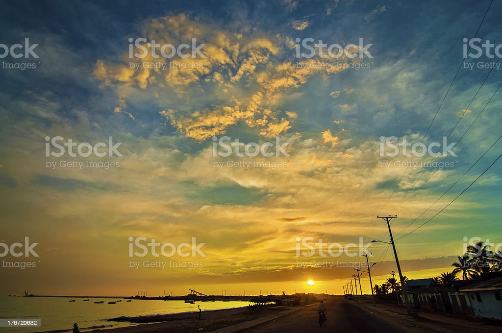 Sunrise in Manaure, Colombia stock photo