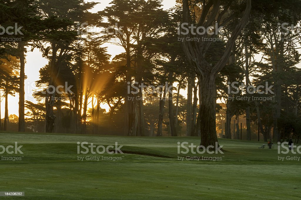 Sunrise in misty galf course royalty-free stock photo
