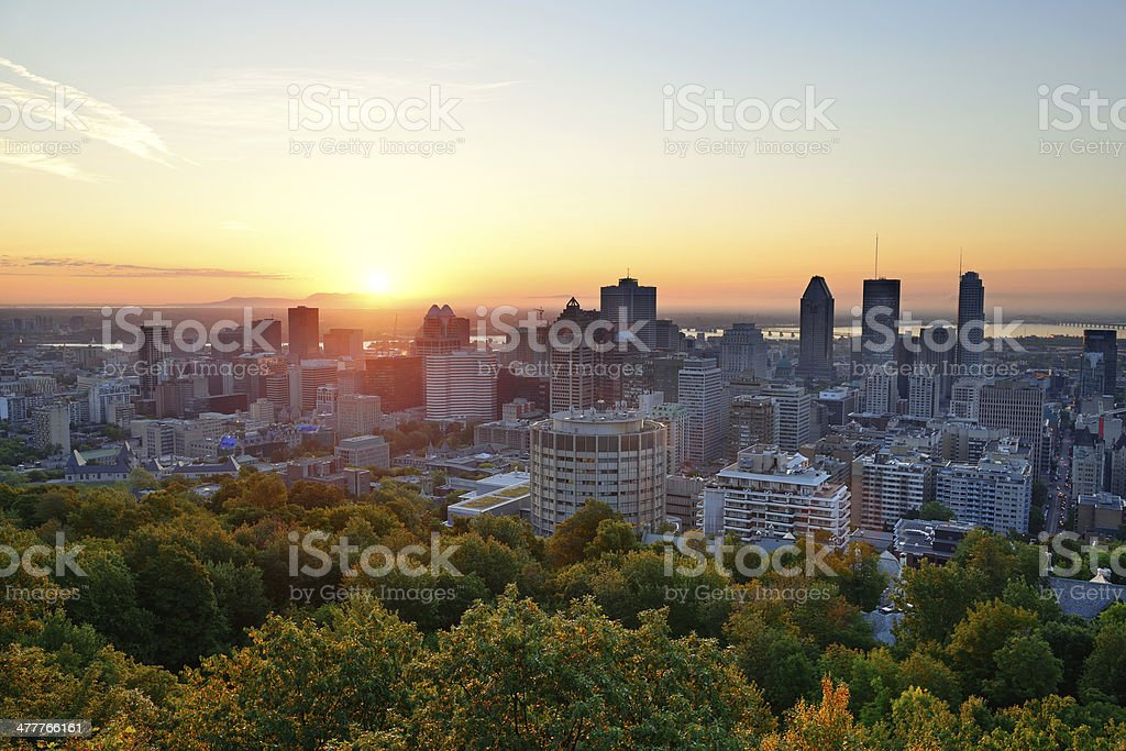 Sunrise in Montreal viewed from Mont Royal stock photo