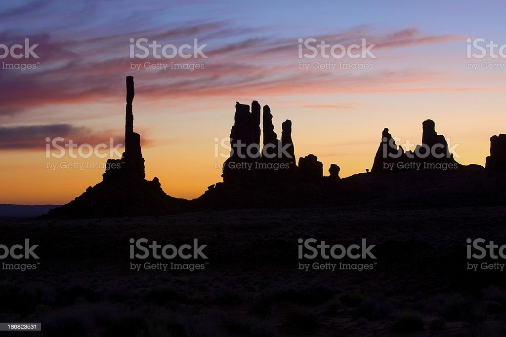 Alba nella Monument Valley foto stock royalty-free