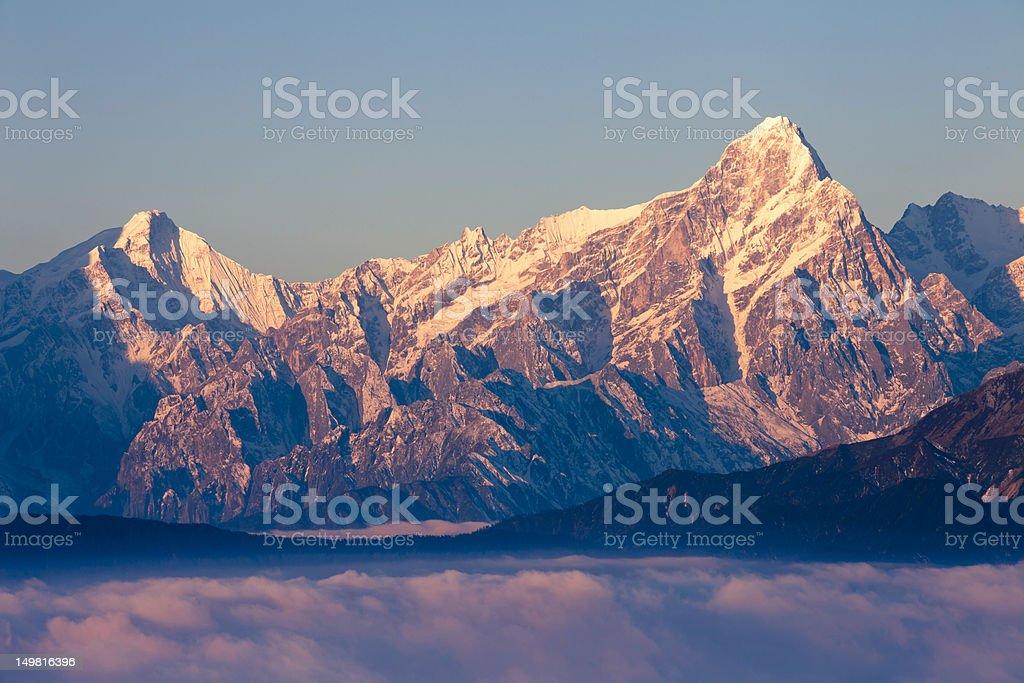 sunrise in Mount Gongga stock photo