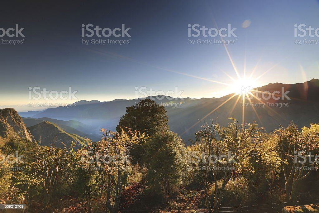 Sunrise in mountain and sea of clouds stock photo