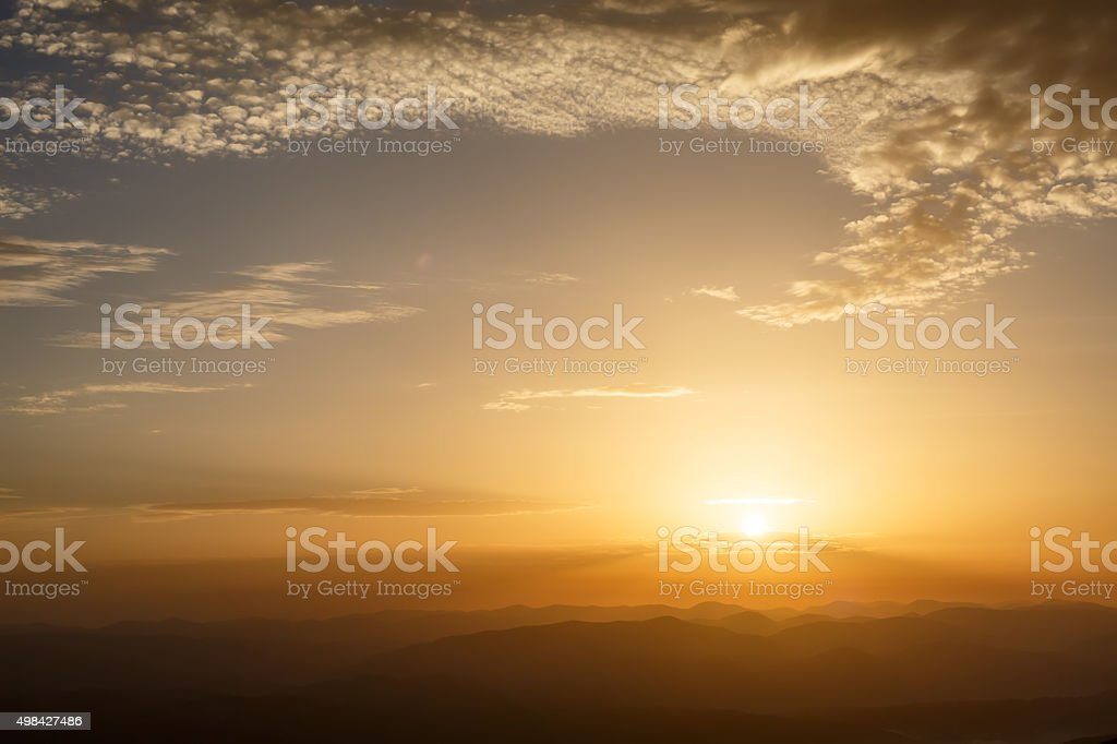 Sunrise in mountains stock photo