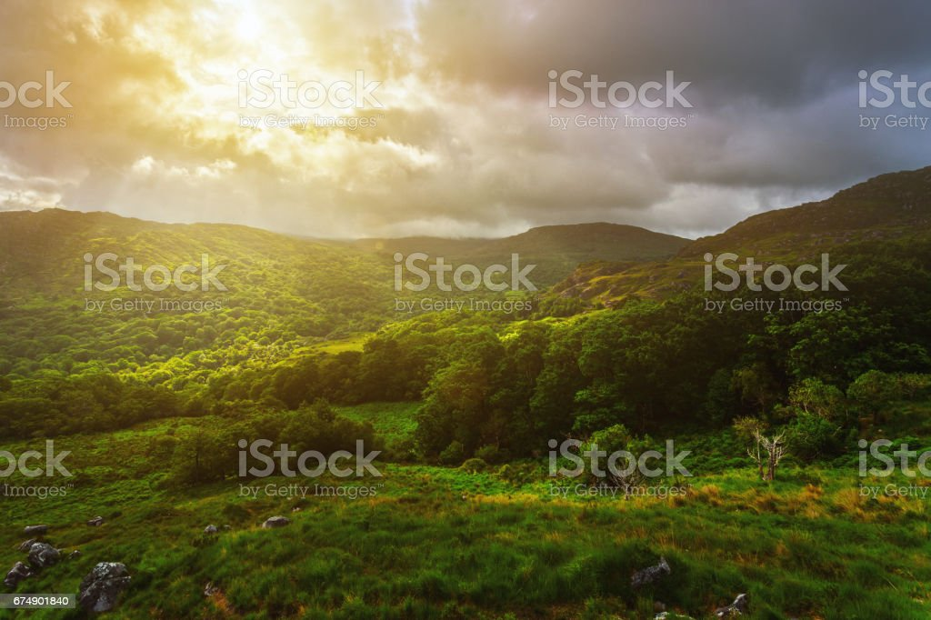 Sunrise in mountains, Ring of Kerry, County Kerry, Ireland stock photo