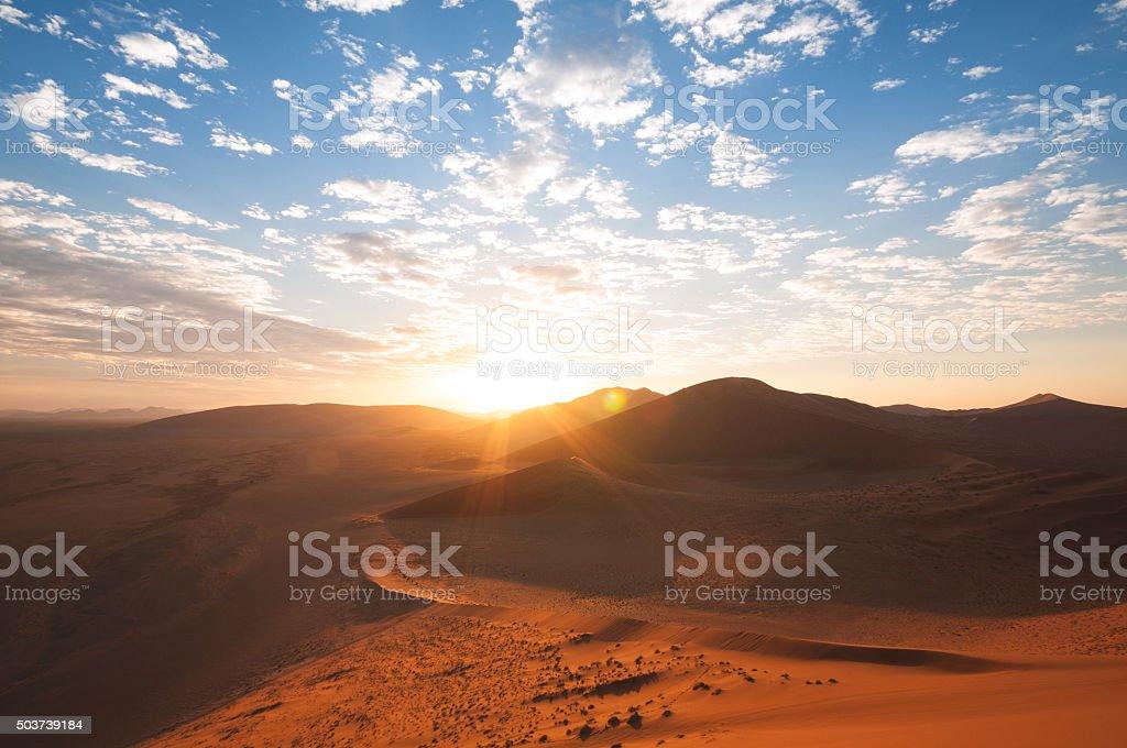 Sunrise in Namib desert, Sossusvlei in Namibia stock photo