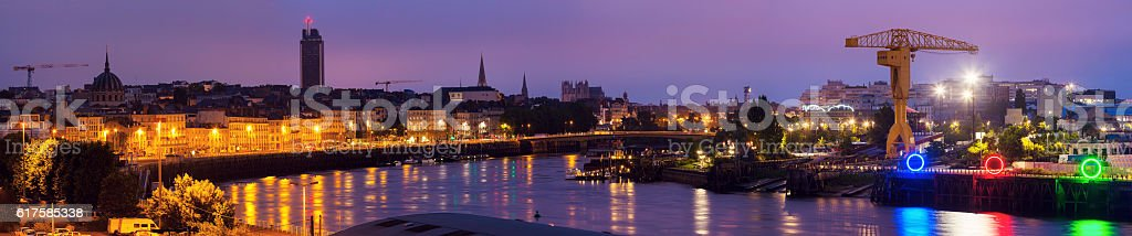 Sunrise in Nantes - panoramic view of the city stock photo