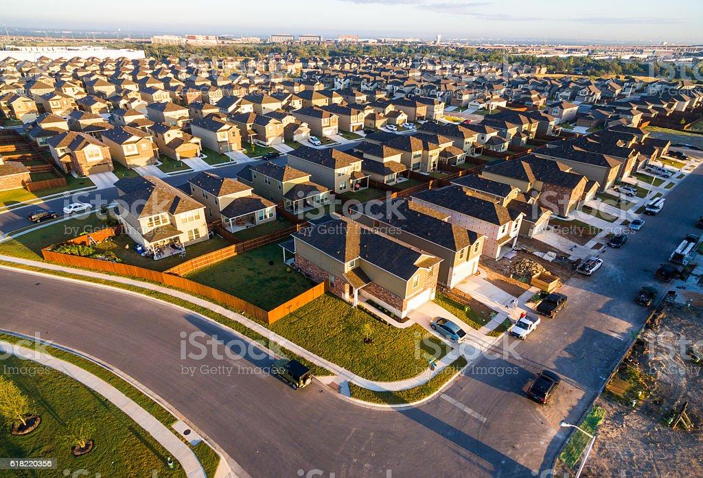 Sunrise In New Housing Development Suburbia Austin Texas stock photo