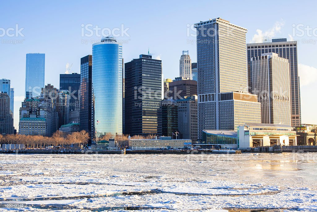 Sunrise in NYC Frozen Hudson River Financial District Skyline stock photo