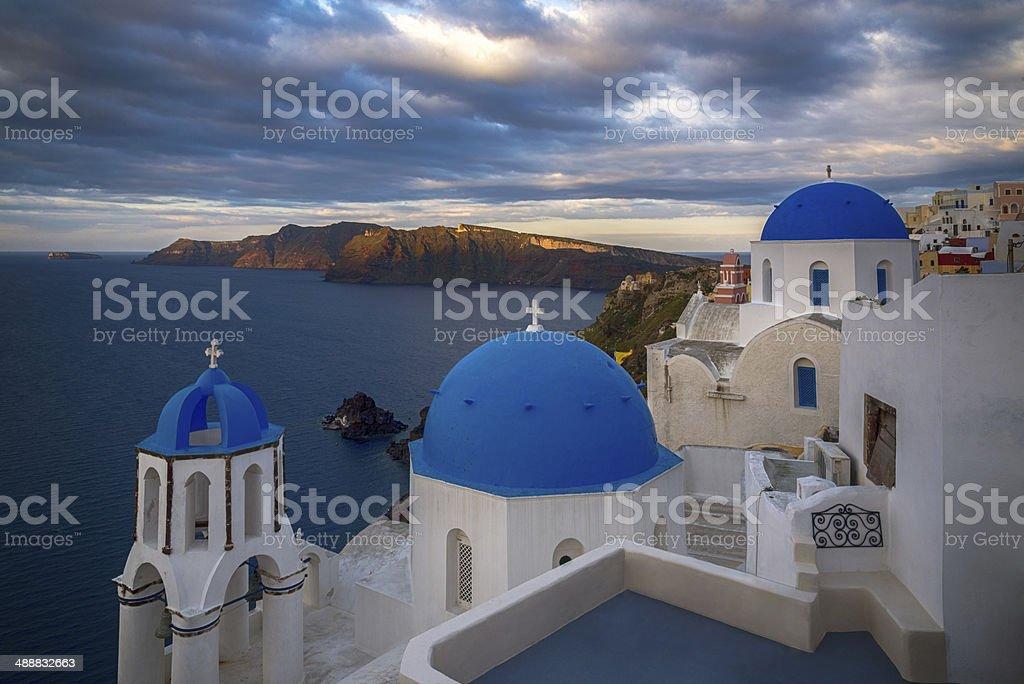Sunrise in Oia, Santorini stock photo