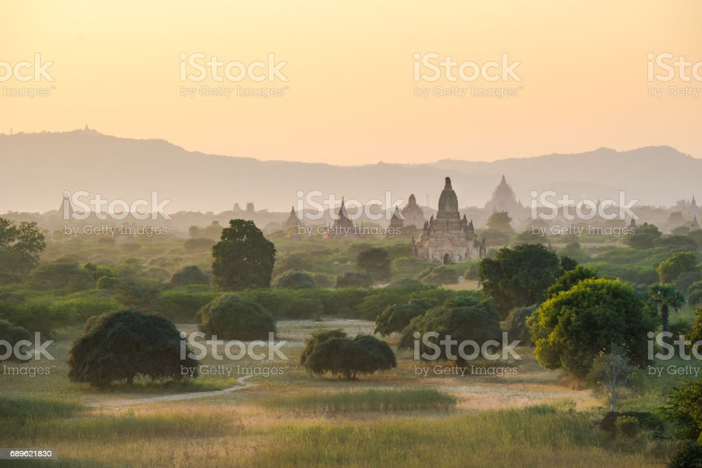 Sunrise in old pagodas field in Bagan Mandalay region, Myanmar (Burmar) stock photo