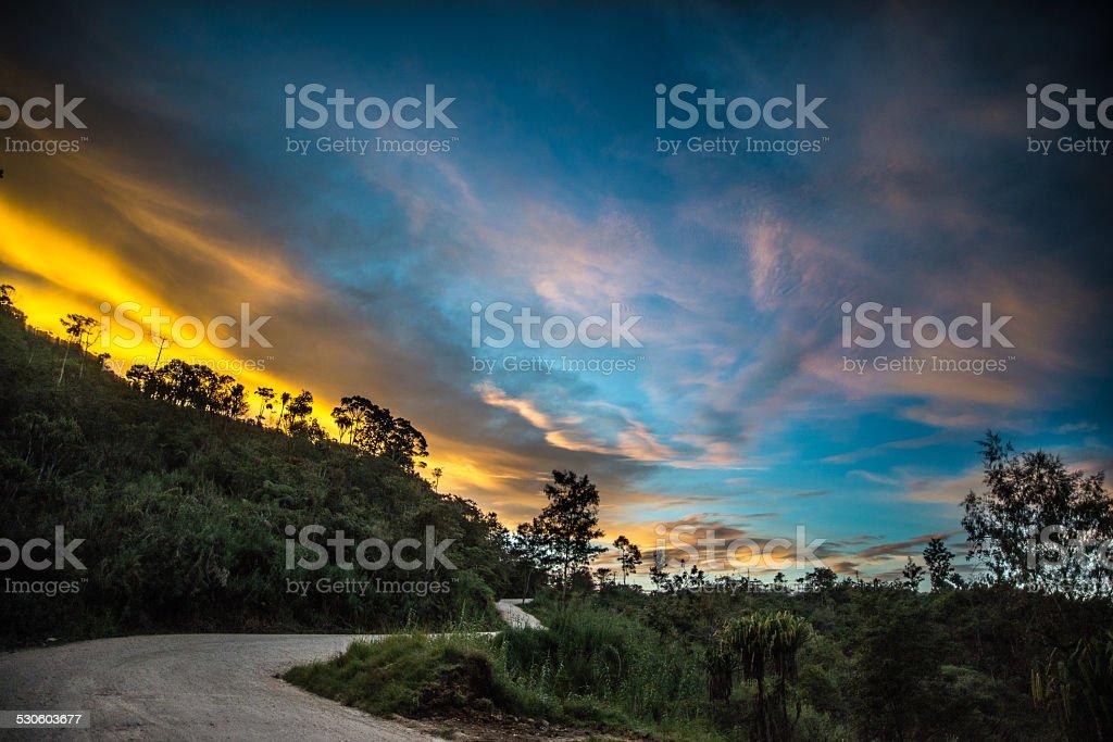 Sunrise in Papua New Guinea Highlands stock photo