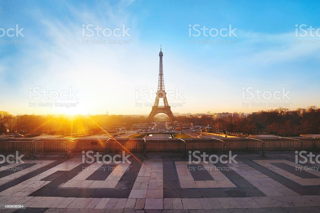 sunrise in Paris stock photo