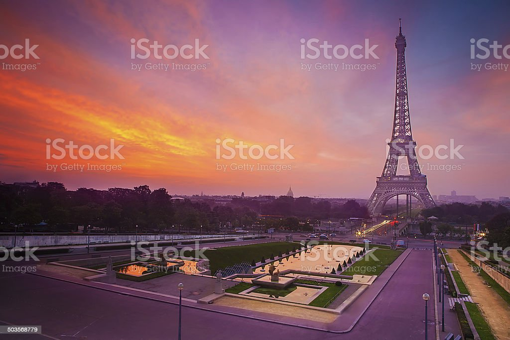 Sunrise in Paris, with the Eiffel Tower stock photo