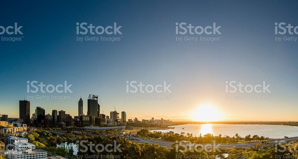 Sunrise in Perth Panorama 2 stock photo