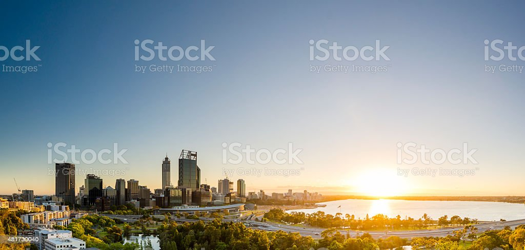 Sunrise in Perth Panorama stock photo