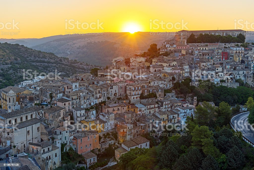 Sunrise in Ragusa Ibla in Sicily stock photo