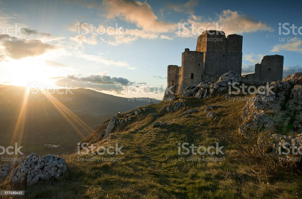Alba a Rocca Calascio stock photo