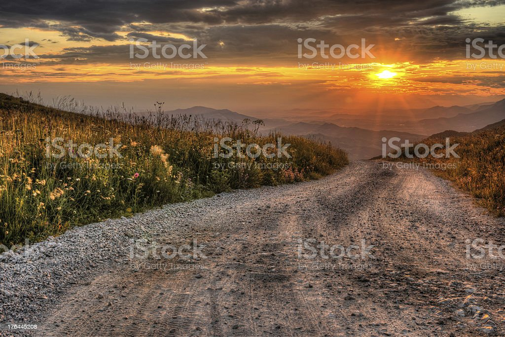 Sunrise in rocky mountains stock photo