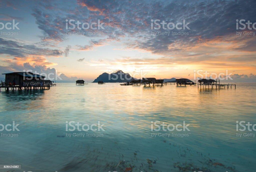 Sunrise in Sabah Borneo stock photo