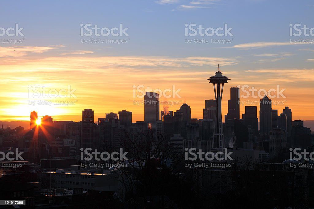 Sunrise in Seattle royalty-free stock photo