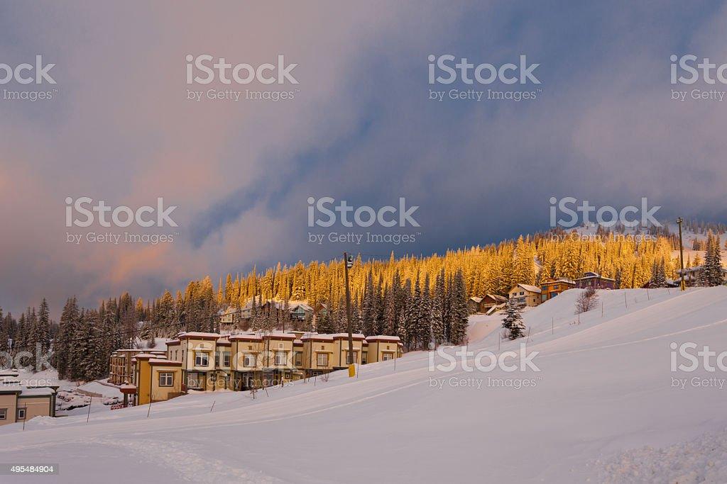Sunrise in ski resort stock photo
