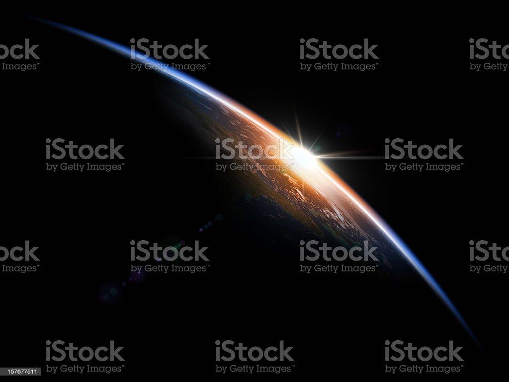Sunrise in Space stock photo