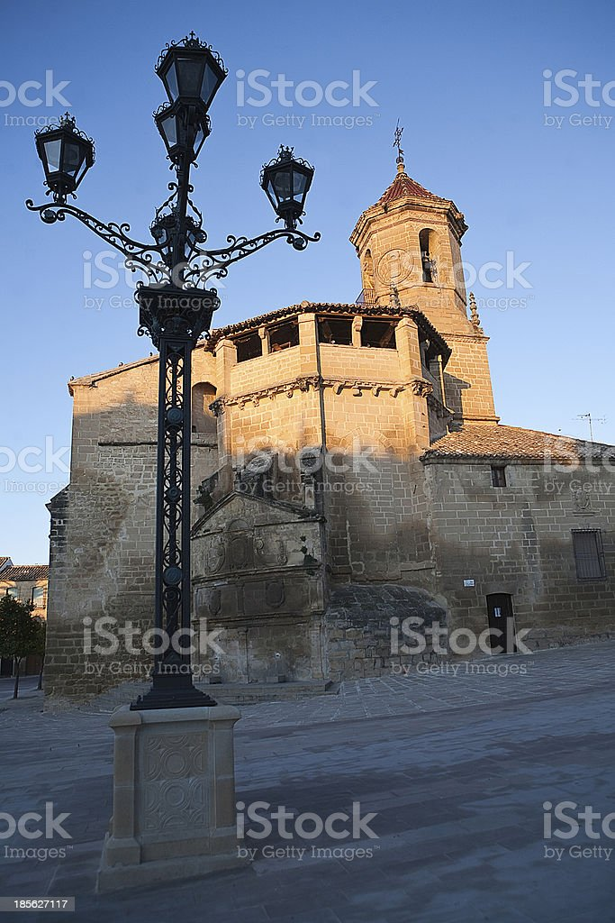 Sunrise in square on May 1, Ubeda, Jaen province, Spain stock photo