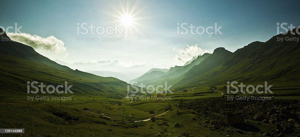 Sunrise in the Alps, Pordoi Pass, Dolomites Mountain Landscape, Italy stock photo