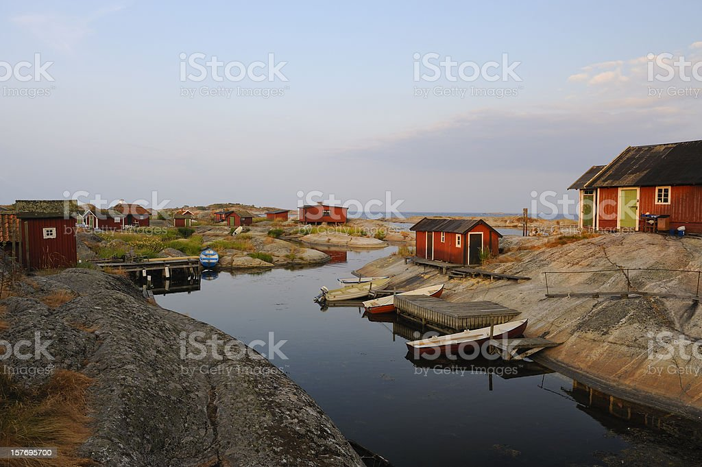 Sunrise in the archipelago stock photo