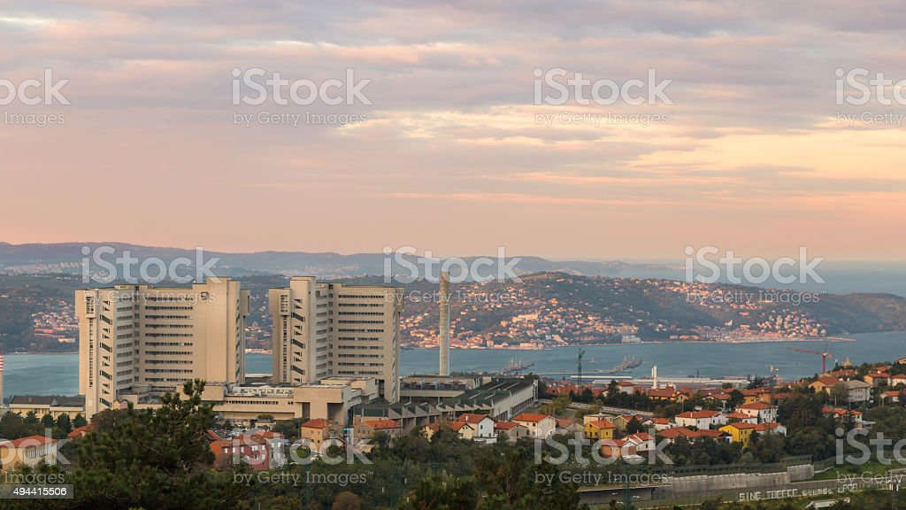 Sunrise in the bay of Trieste stock photo