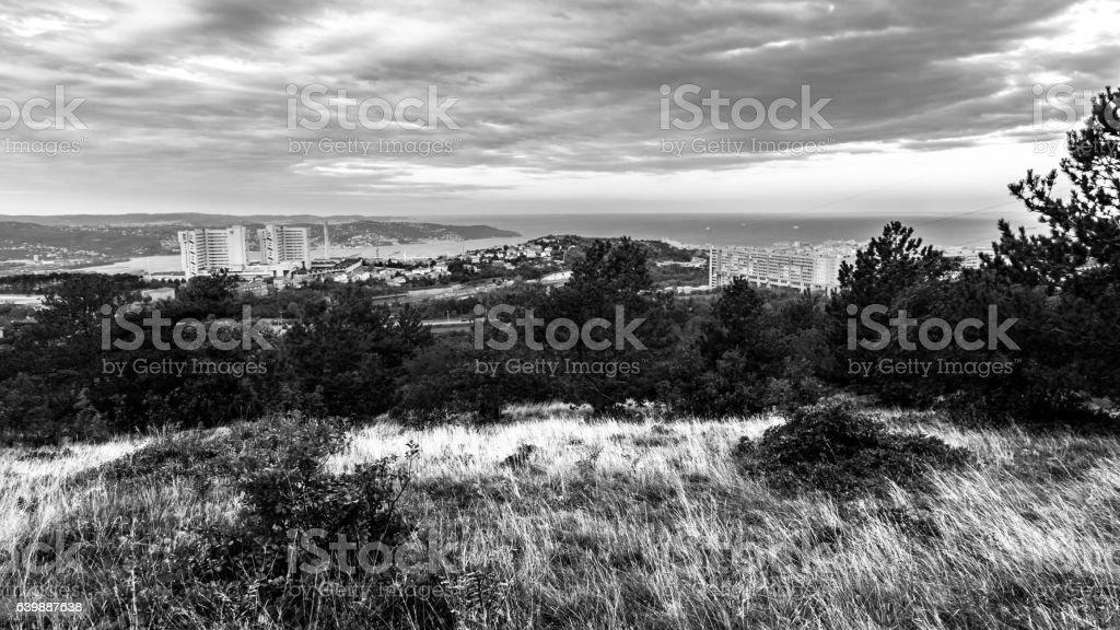 Sunrise in the bay of Trieste stock photo