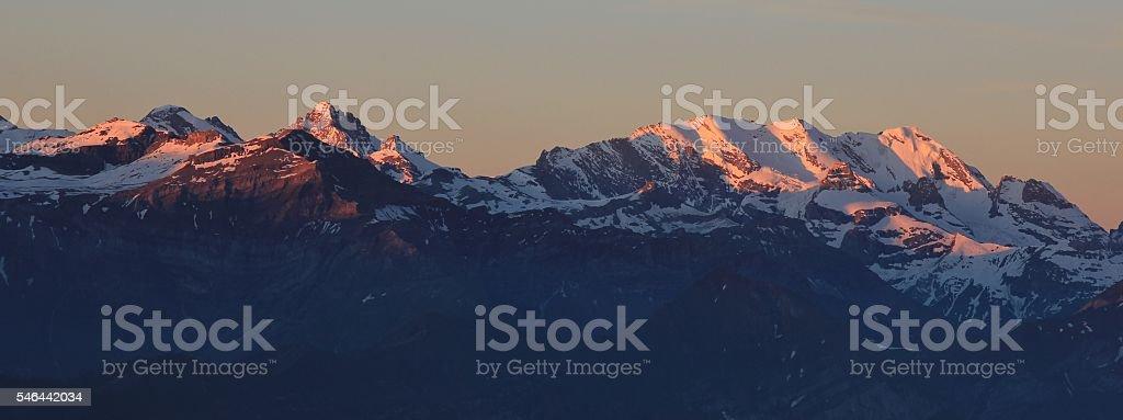 Sunrise in the Bernese Oberland stock photo