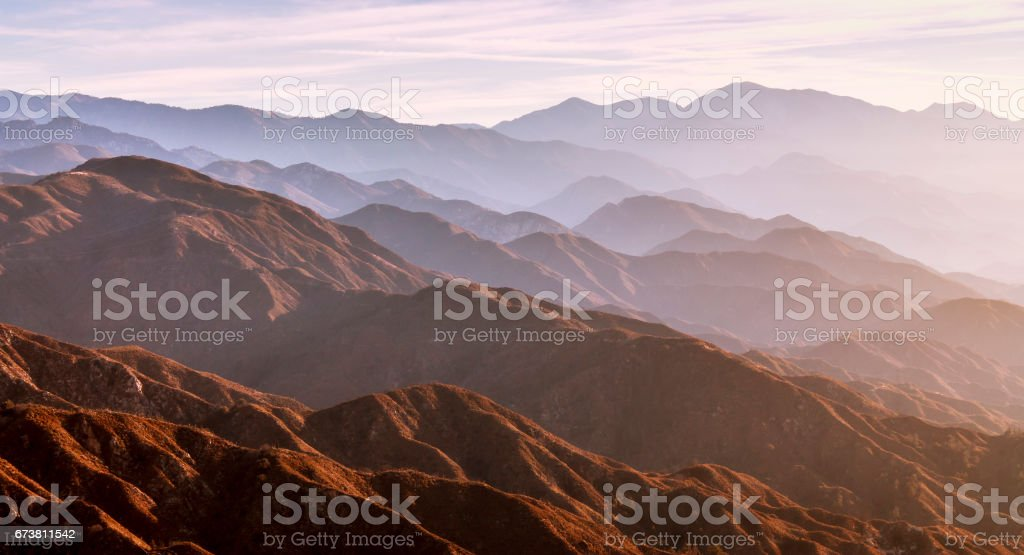 Sunrise in the California Mountains stock photo