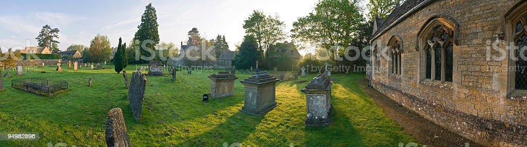 Sunrise in the churchyard royalty-free stock photo