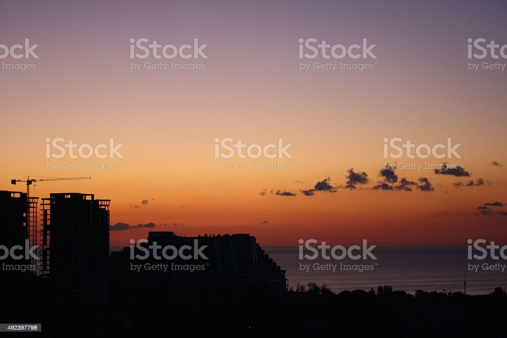 Sunrise in the city. royalty-free stock photo