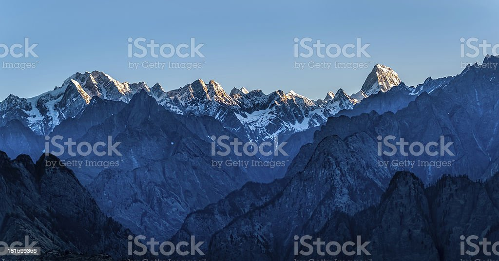 Sunrise in the Himalayas stock photo