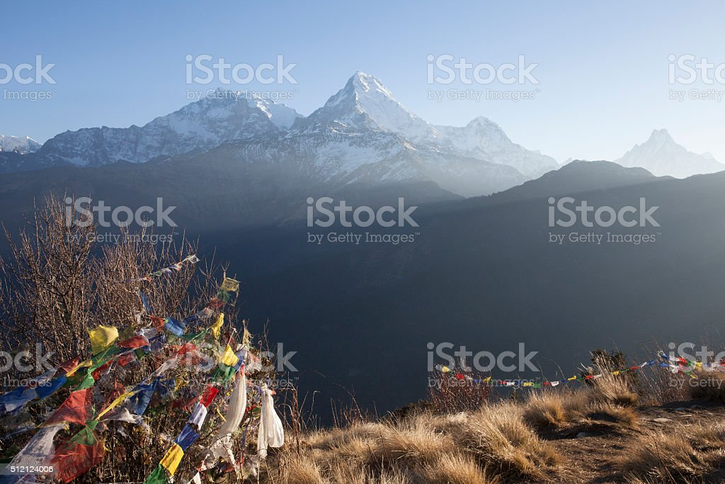 Sunrise in the Himalayas stock photo
