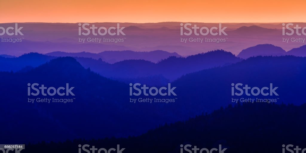 Sunrise in the Laramie Mountains of Colorado stock photo