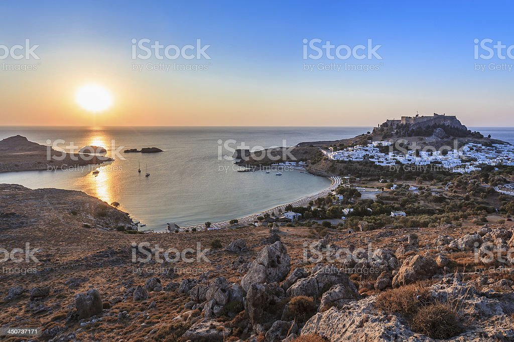 sunrise in the Lindos stock photo