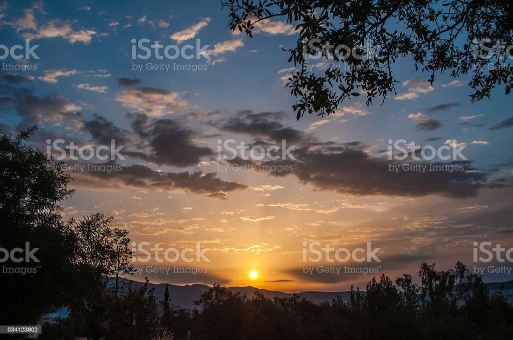 Sunrise in the mountain stock photo
