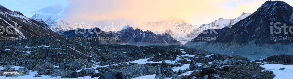 sunrise in the mountains Cho Oyu, Himalayas, Nepal. stock photo
