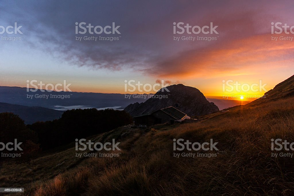 Sunrise in the mountains stock photo