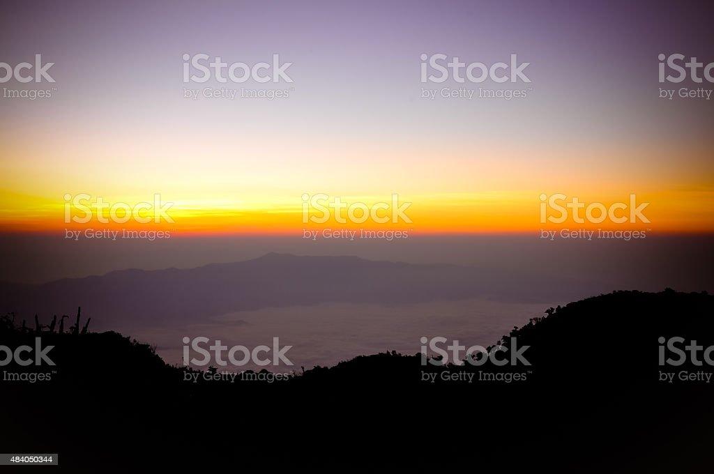 sunrise in the mountains (Doi Luang Chiang Dao , Chiang Mai ,Thailand) stock photo
